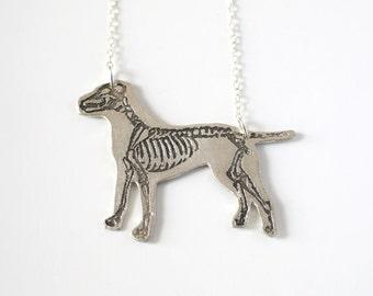 Pitbull Necklace - Silver Dog Necklace - Dog Gift - Dog Jewelry - Dog Skeleton - Skeleton Jewelry - Veterinarian Gift