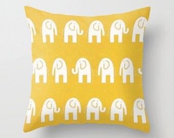 Elephant Pillow Cover Yellow Pillow Cover Nursery Pillow Kids Pillow Cushion Cover