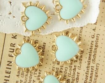 5 pcs Spiky Gold Heart Charm (17mm18mm) aqua blue AZ106