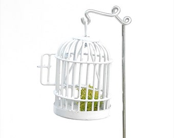 Cute Mini Birdcage or Critter Cage with Handmade Shepherd's for the Miniature Garden, Fairy Garden, Bird Lover or Terrarium Garden, OOAK