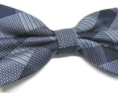 Mens Bowtie. Bowties. Blue Silver Plaid Bow tie With Matching Pocket Square Option