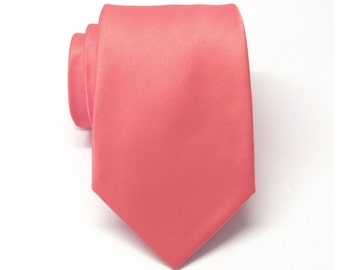 Coral Mens Tie.  Wedding Neckties With Matching Pocket Square Option