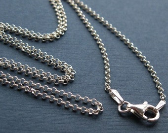 Sterling Silver Necklace-2mm Rolo Chain Necklace,ITALY-Extra Long Necklace-Finished For Pendant-Popular rolo chain(36 inches)- SKU: 601005