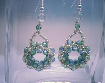 Transparent Blue/Green Beaded Ring Earrings