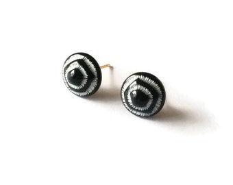 Black Ear Posts - Black and White - Vintage Cabochons - Retro Jewellery - Black Pods Ear Posts (SD0808)