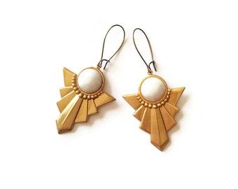 Chalk White Earrings - Art Deco Style Earrings - Geometric Earrings - White and Gold Earrings - Sunnet Earrings in white (SD0995)