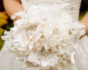 Wedding bridal brooch bouquet - pure silk couture flowers - french beaded crystal flowers VENUS -  Whimsical Delights collection