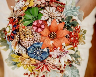 Floral Rhapsody-  Vintage Brooch Bouquet with crystals, handmade velvet dusty millers and more