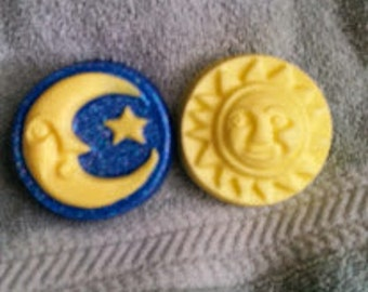 Moon and Sun Soap Set - Celestial Soap Set, Party Favor, Man in the Moon, Baby Shower, Guest Soap