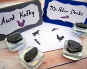 Wedding Meal Choice Escort Card Rubber Stamps Cow, Fish, Veg, Chicken, Kids, Pig, Crab, Lobster, Gluten Free - 15 Choices by BlossomStamps