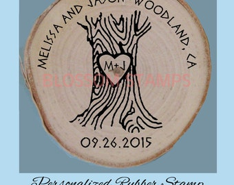 Custom Wedding Save the Date rubber stamp // Tree with Heart Wood Slice Stamp // Rustic Weddings Stamp//by Blossom Stamps