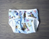 Waterproof diaper cover, training underwear for baby, toddler size Large Cowboy