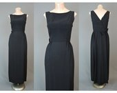 1960s Evening Gown Dress Black with Bow and Tail - fits 35 inch bust - Vintage Wiggle, Party, Cocktails