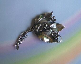 Vintage 40s Sterling Silver Leaf & Flower Pin