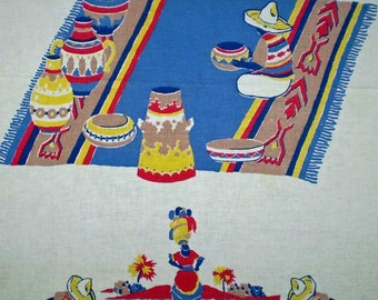 Vintage 50s Large Mexican Tablecloth 58 x 72