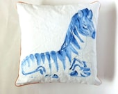 Animal Art, Zebra, Whimsical Pillow, Childrens Room Decor, Blue and White, One of a Kind, Watercolor Pillow, Indoor Outdoor Decor
