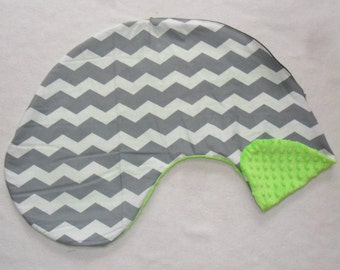 Gray Chevron and Lime Green Minky Dot Pillow Cover Fits Dr Brown's Gia Pillow CHOICE OF MINKY