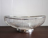 Mid-century silver plated vintage wire basket