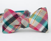 rainbow grey madras freestyle bow tie