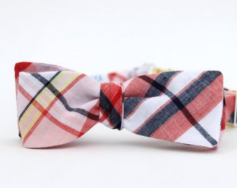 blush & navy madras freestyle bow tie