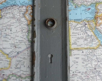 SALE! Large vintage distressed metal painted gray doorplate for doorknob decor or projects