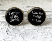 Silver or Brass Custom Cufflinks -Father Of The Bride- I Love You Daddy - Wedding Date- Wearable Art- Handmade by Lisa Owens
