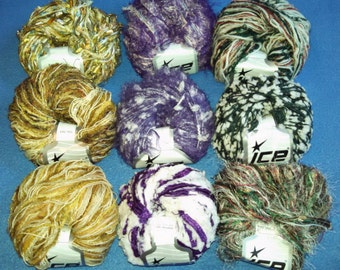 Multi-Strand Novelty Yarn by Ice Yarns, three skeins