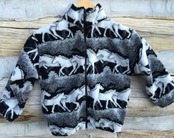 Kids Black and White Horse Fleece Zipper Jacket Kids Coat, Fleece Coat , Kids Fleece Jacket, Boy Toddler Jacket, Girl Toddler Jacket,