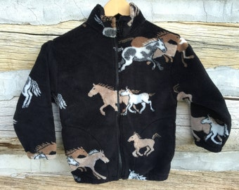 Kids Black and Tan Horse Fleece Zipper Jacket, Kids Pony Jacket, Kids Coat, Fleece Coat , Kids Fleece Jacket, Boy Toddler Jacket, Girl Coat