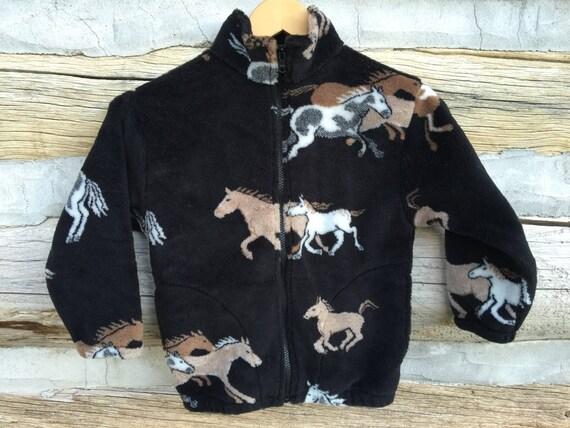 Kids Black and Tan Horse Fleece Zipper Jacket Kids Pony