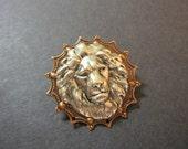 Lion Pin, Zoo Animal, Lion Brooch, Woodland Brooch, Lapel Pin, Animal Brooch, Animal Pin, Silver Lion, Jungle Animal, Copper, Lion's Mane