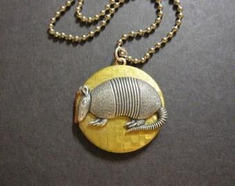 Armadillo Locket, Animal Locket, Woodland Animal, Locket Necklace, Keepsake Locket, Forest Animal, Photo Locket, Silver and Brass, Long, Her
