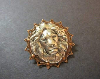 Lion Pin, Zoo Animal, Lion Brooch, Woodland Brooch, Lapel Pin, Animal Brooch, Animal Pin, Silver Lion, Jungle Animal, Copper, Lion's Mane