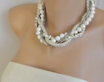4 Chunky Layered Necklaces with Rhinestone Rope and Pearls, brides bridesmaids