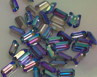 6 10x5mm Light Sapphire AB Baguettes Swarovski Vintage Article 176/1 10×5mm Baguettes Swarovski Light Sapphire ab Octagons