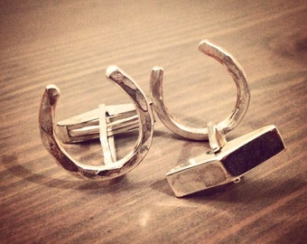 Lucky Horseshoe Cufflinks - Sterling Silver - Groomsman Wedding - Gifts for Him - The Phoenix Collection - Jennifer Cervelli Jewelry
