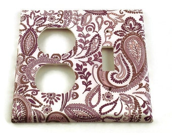 Light Switch Covers Wall Decor Combo Switchplate Light Switchplates  in  Purple Paisley   (098C)
