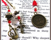 Tree of Life Charm, Beaded Book Marker,  Books and Zines:short for Magazine,Book Marker, Beaded, Red Satin Cord, Antique Brass Charms 1078