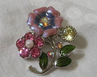 Vintage Rhinestone & Cloisonne Metal Flower Costume Jewelry Brooch