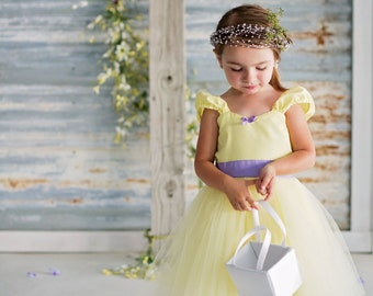 Yellow and lavender dress yellow TUTU  DRESS for  toddler girl birthday party  portrait flower girl special occasion yellow dress