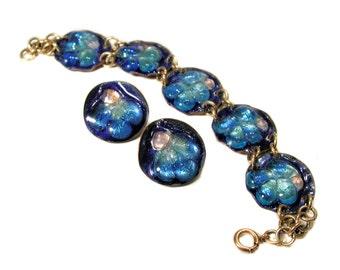 50s Modernist Sheldon Blue Glass Bracelet Earrings Demi, 1950s Artisan Jewelry Set Signed by Beryl Sheldon, Free USA shipping