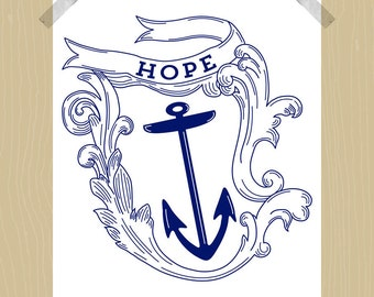 Printable Nautical Design Hope and Anchor 8 x 10 Sailing Themed Nautical Decor Nautical Art Nursery Art Wall Art Living Room Art Navy White