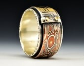 Mokume and Hand-stamped Silver with Gold Rivets Ring
