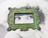Verdigris Patina Brass Art Deco Style Frame Setting Tray Stamping 86VER x1