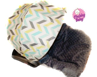 Infant Car Seat Cover, Baby Car Seat Cover in Aqua Grey Check