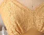 Goldie   Vintage 1960s Vanity Fair Sun Kissed Gold Nylon Full Slip with Floral Lace Bodice and Scallop Hem