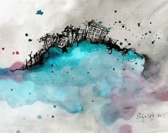 Ink abstract painting on canvas A4 - turquoise cloud city 3