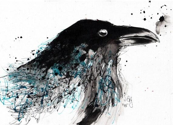 encre de dessin sur toile a4 portrait de raven avec plumes. Black Bedroom Furniture Sets. Home Design Ideas