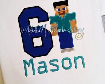 Personalized Minecraft Birthday Shirt Steve the Builder