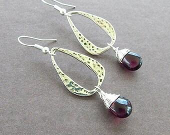 Artsy Red Garnet Gemstone Teardrop & Textured Silver Oval Dangle Earrings